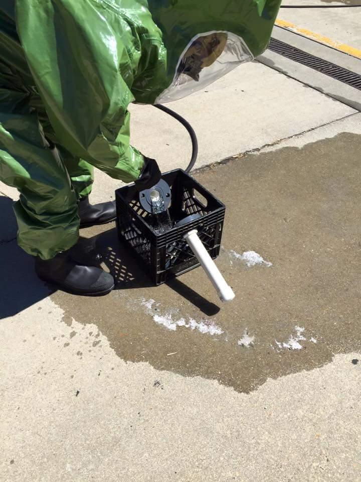 Student repairs leaking flange under pressure at HazSim Challenge